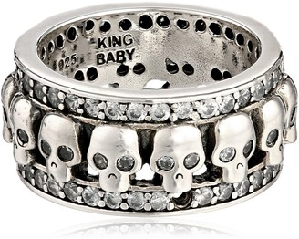 King Baby Studio Wide Band with Skulls and Cubic Zirconia Ring Size 6