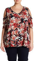 Bobeau Floral Cold Shoulder Blouse (Plus Size)