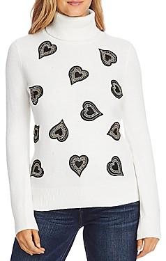 Vince Camuto Heart Applique Turtleneck Sweater