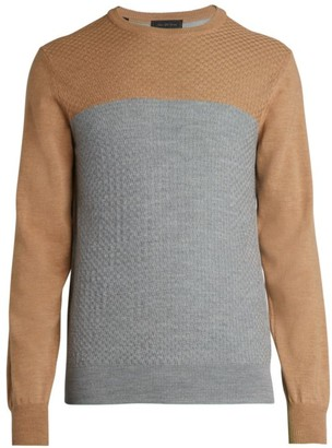 Saks Fifth Avenue COLLECTION Colorblock Basket Stitch Wool Sweater