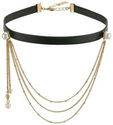 Steve Madden Leather Choker with Casted Pearl/Chain Necklace Necklace