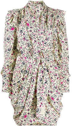 Isabel Marant Floral-Print Pleated Draped Mini Dress