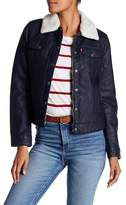 Levi's Faux Shearling Collar Faux Leather Trucker Jacket