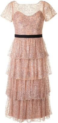 Marchesa Tiered Glitter Cocktail Dress