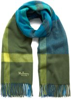 Mulberry Large Check Scarf Porcelain Blue Lambswool