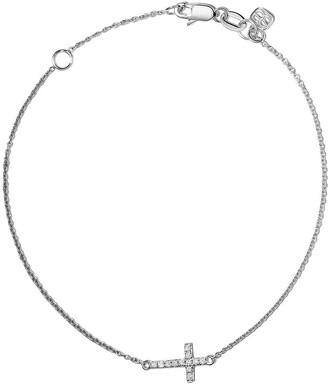 Sydney Evan 14kt White Gold Cross Diamond Charm Bracelet
