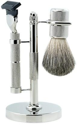 Bey-Berk 3-Piece Fusion Razor, Badger Hair Shaving Brush Stand Set