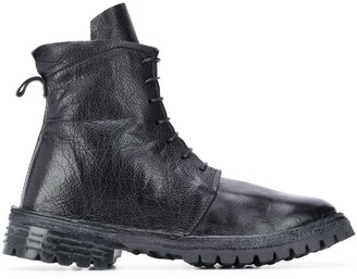 Moma Buffalo Leather Lace Up Combat Boots