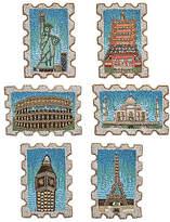 Kim Seybert Set of 6 Stamped Coasters - Blue