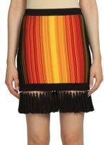 Balmain Sunshine Stripe Fringe-Hem Skirt
