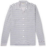 Camoshita Camp-Collar Striped Cotton And Silk-Blend Shirt