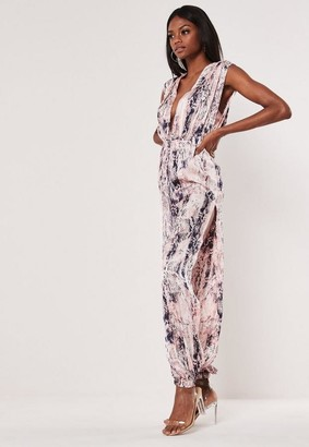 Missguided Pink Snake Wide Leg Side Split Romper