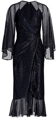 Talbot Runhof Sprinkled Metallic Voile Wide-Sleeve Midi Dress