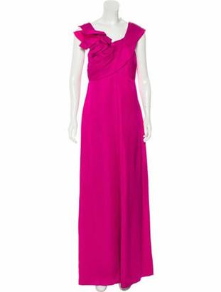 Marchesa Silk Evening Dress Magenta