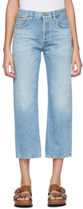 Citizens of Humanity Blue Emery High-Rise Relaxed Crop Jeans