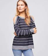 LOFT Petite Striped Cold Shoulder Sweater