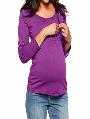 Arestory Women's Maternity Tops Mom Ladies Pregnancy Wrap Nursing T-Shirt Crew Neck Layered Design Clothing Blouse Soft Elasticity Sleepwear Nightwear New Pregnant Pullover Tee Shirt Pullover Purple