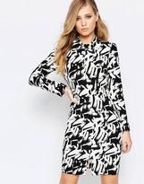 Sisley Longsleeve Dress in Black Graphic Print