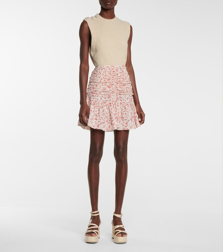 Thumbnail for your product : Ganni Floral georgette miniskirt