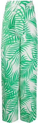 Sara Battaglia Palm Leaf-Jacquard Belted Trousers