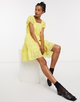 And other stories & eco cotton square neck smock dress in yellow