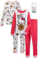Komar Kids Hello Kitty Girls 4 Piece Cotton Pajama Set, Kids