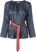 Hache patterned belted blouse