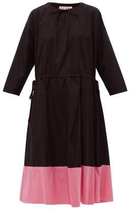 Marni Godet-hem Cotton-poplin Midi Dress - Womens - Black Pink
