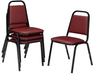 National Public Seating (4 pack) NPS 9100 Series Choice Vinyl Upholstered Padded Stack Chair, Pleasant Burgundy