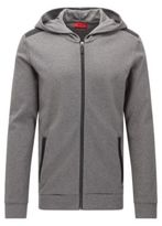 HUGO BOSS Dellagio Cotton Hooded Moto-Detail Sweat Jacket M Grey
