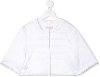 Miss Blumarine TEEN crystal-embellished padded jacket