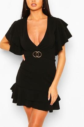 boohoo Ruffle Detail Belted Mini Dress