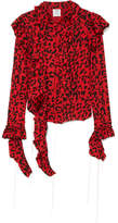 Vetements Frayed Ruffled Leopard-print Stretch-jersey Blouse - Red