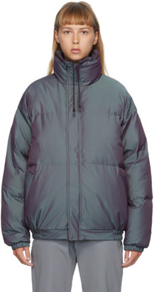 Essentials Grey Iridescent Puffer Jacket