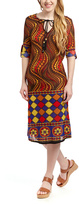 Orange Geometric Tie-Front Dress