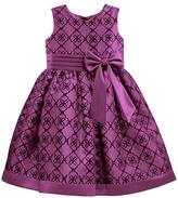Jayne Copeland Plum Flocked Organza Bloomer Dress - Infant & Girls