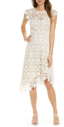 Brinker & Eliza Asymmetrical Lace Fit & Flare Dress