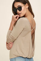 LuLu*s In a Day Olive Green Backless Long Sleeve Top