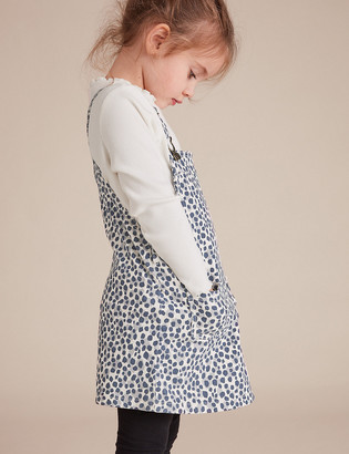 Marks and Spencer 2 Piece Cotton Leopard Pinafore Outfit (2-7 Yrs)