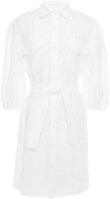 Paul & Joe Belted Linen-gauze Mini Shirt Dress
