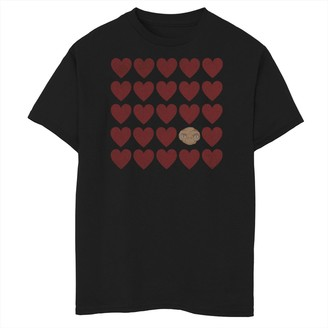 Licensed Character Boys 8-20 E.T. Valentines Red Heart Grid Head Shot Tee