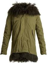 Mr & Mrs Italy Mongolian-fur lined hooded canvas mini parka