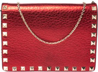 Valentino Metallic Red Leather Small Rockstud Shoulder Bag