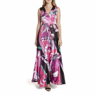 Tahari ASL Women's Sleeveless Surplus Print Self Belt Maxi Dress
