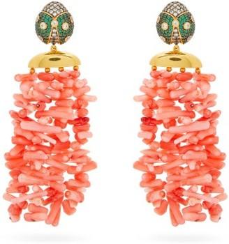 BEGÜM KHAN Ladybug Amalfi 24kt Gold-plated Clip Earrings - Pink Multi