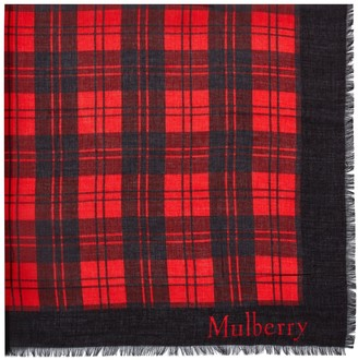 Mulberry Tartan Check Square with Signature Scarlet Silk Modal