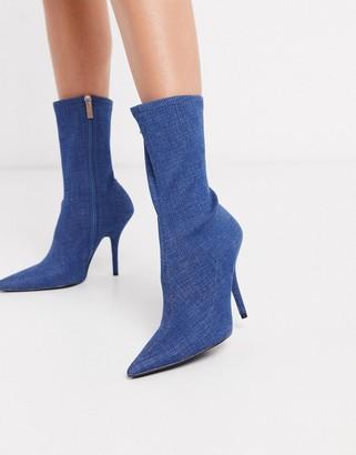 Asos Design DESIGN Evie sock boots in denim-Navy