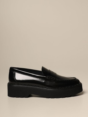 Tod's Loafers In Brushed Leather With Rubber Sole