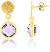 Auree Jewellery Salina Gold Vermeil Disc & Amethyst Earrings