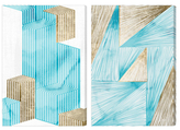 Oliver Gal Geometric Going Up (Canvas) (Set of 2)